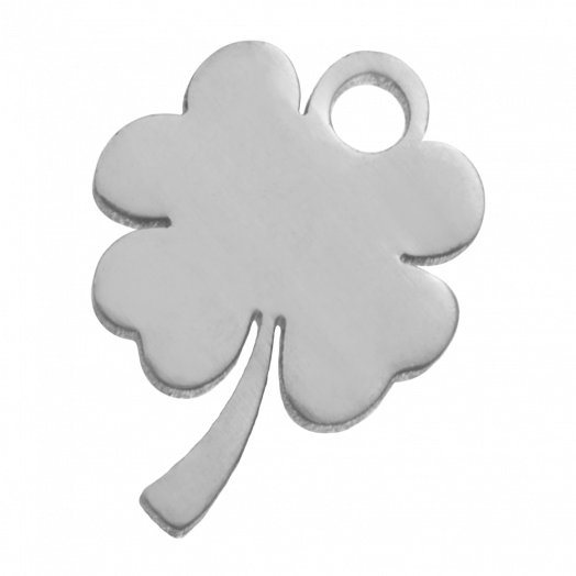 Stainless Steel Charm Clover (12 x 9 mm) Antique Silver (4 pcs)
