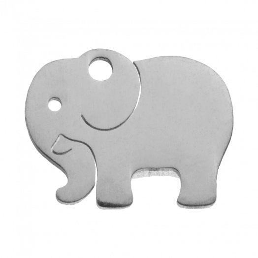 Stainless Steel Charm Elephant (13 x 10 mm) Antique Silver (4 pcs)