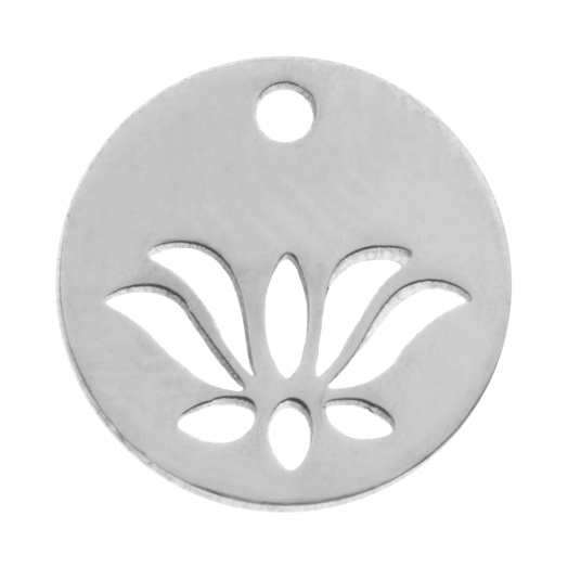 Stainless Steel Charm Lotus (12 mm) Antique Silver (4 pcs)