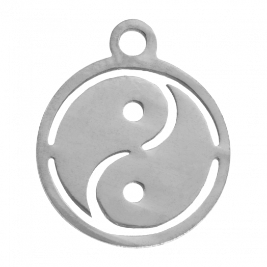 Stainless Steel Charm Ying Yang (14 x 12 mm) Antique Silver (4 pcs)
