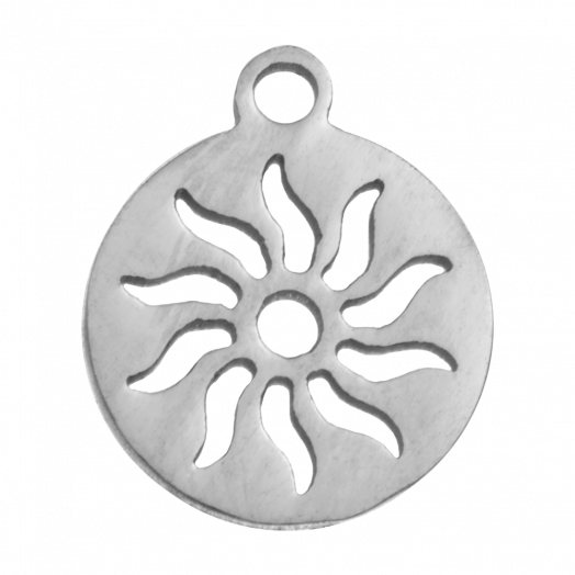 Stainless Steel Charm Sun (14 x 12 mm) Antique Silver (4 pcs)