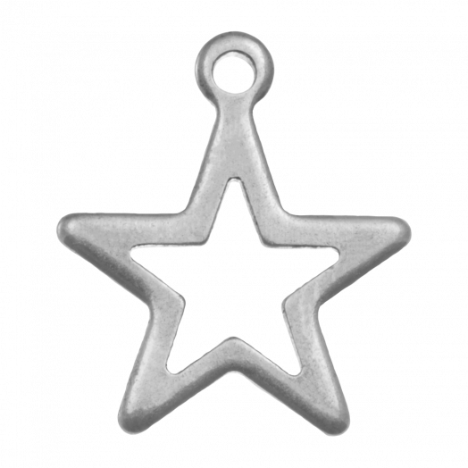 Stainless Steel Charm Star (15 x 13 mm) Antique Silver (20 pcs)