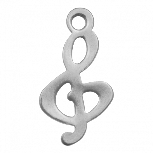 Stainless Steel Charm Musical Note (16 x 8 mm) Antique Silver (20 pcs)