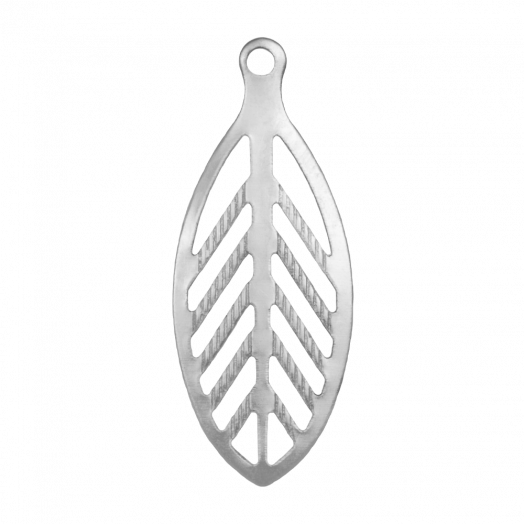 Stainless Steel Charm Leaf (23 x 9 mm) Antique Silver (50 pcs)