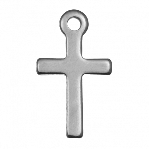 Stainless Steel Charm Cross (12 x 7 mm) Antique Silver (25 pcs)