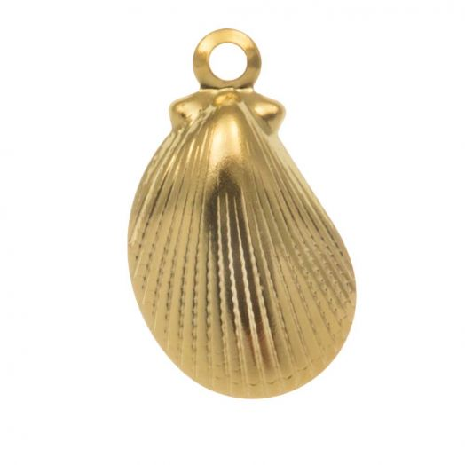 Stainless Steel Charm Shell (12 x 7 mm) Gold (10 pcs)