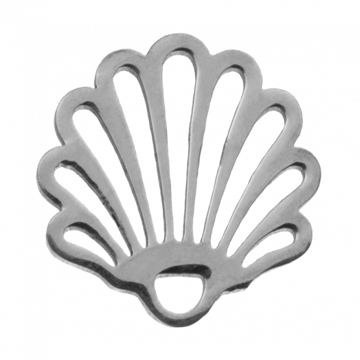 Stainless Steel Charm Shell (14 x 13 mm) Antique Silver (4 pcs)
