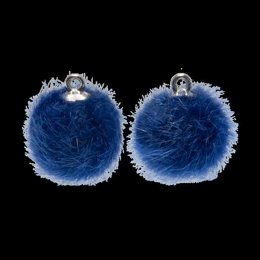 Pompom Charms (12mm) Antique Silver / Royal Blue (10 pcs)