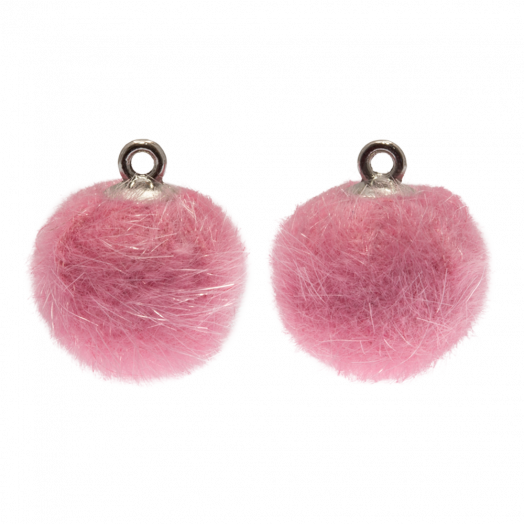 Pompom Charms (15 mm) Antique Silver / Party Pink (10 pcs)