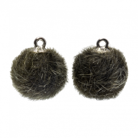 Pompom Charms (12 mm) Antique Silver / Army Green  (10 pcs)