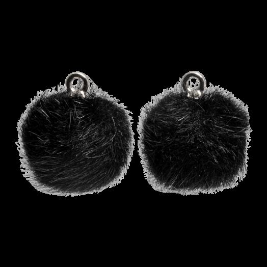 Pompom Charms (12 mm) Antique Silver / Black (10 pcs)