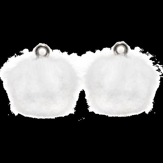 Pompom Charms (12 mm) Antique Silver / White (10 pcs)