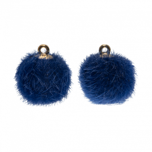 Pompom Charms (12 mm) Gold / Royal Blue (10 pcs)