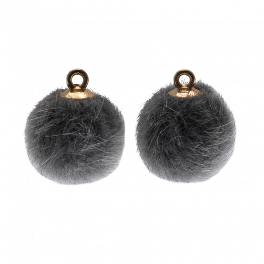 Pompom Charms (12 mm) Gold / Grey (10 pcs)