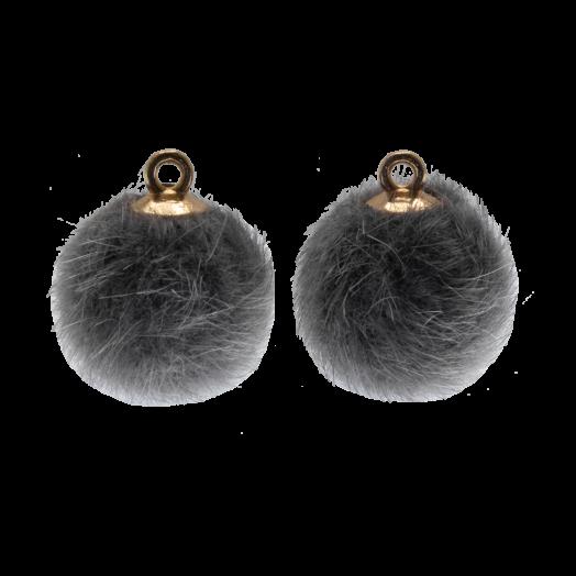 Pompom Charms (15 mm) Gold / Grey (10 pcs)