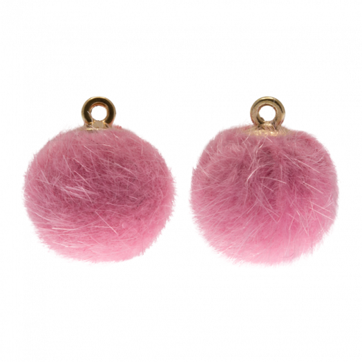 Pompom Charms (12 mm) Gold / Party Pink (10 pcs)