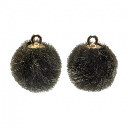 Pompom Charms (12 mm) Gold / Army Green (10 pcs)