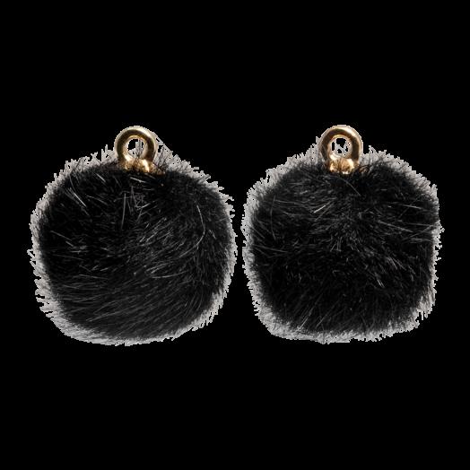 Pompom Charms (12 mm) Gold / Black (10 pcs)