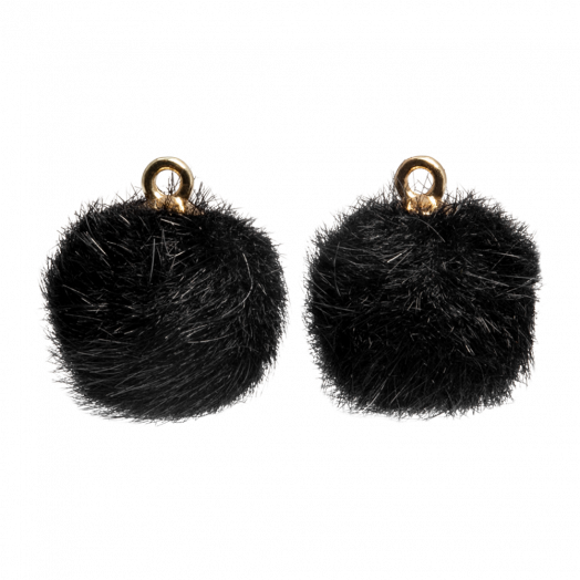 Pompom Charms (15 mm) Gold / Black (10 pcs)