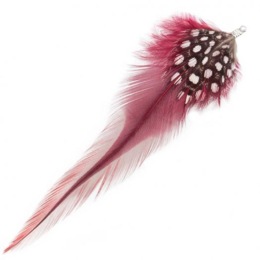 Feathers (10 cm) Dots Dark Raspberry (10 pcs)