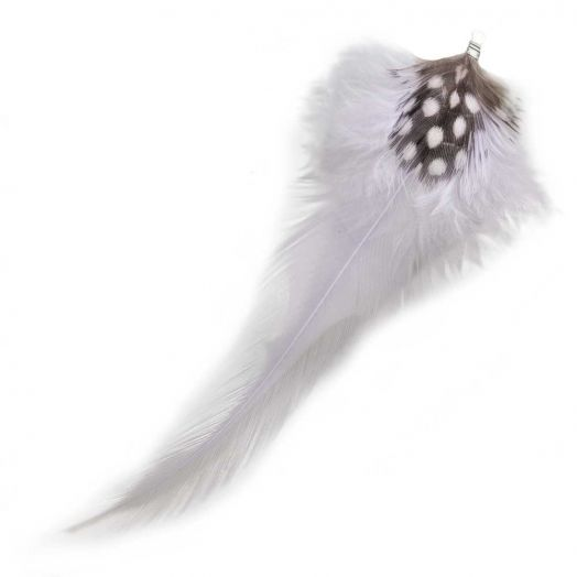 Feathers (10 cm) Dots Light Lilac (10 pcs)