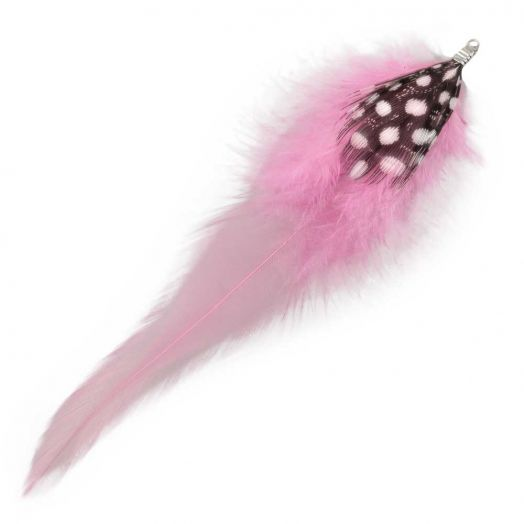 Feathers (10 cm) Dots Party Pink (10 pcs)