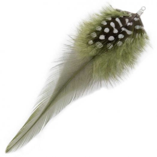 Feathers (10 cm) Dots Moss Green (10 pcs)