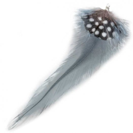 Feathers (10 cm) Dots Blue Grey (10 pcs)