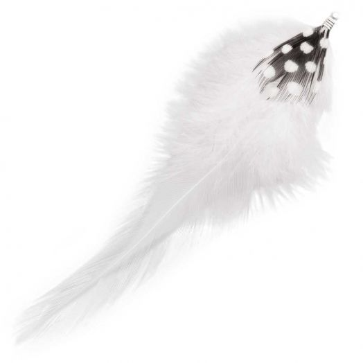 Feathers (10 cm) Dots White (10 pcs)
