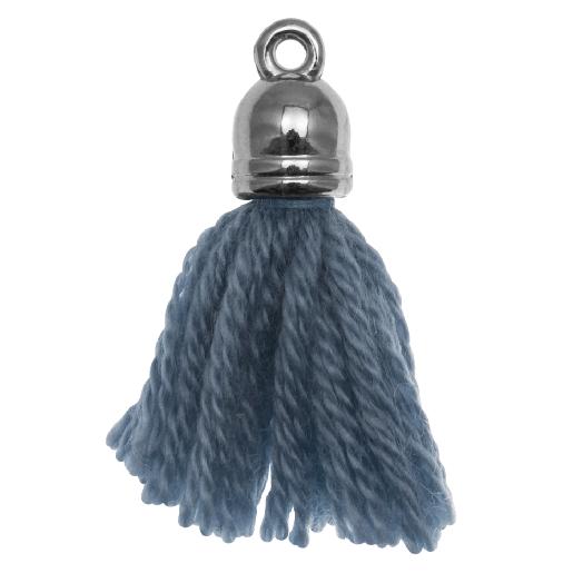 Tassels (20 mm) Aegean Blue / Silver (5 pcs)