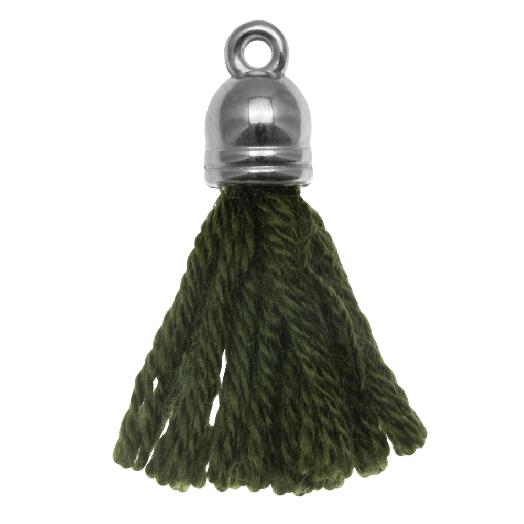 Tassels (20 mm) Seaweed / Silver (5 pcs)