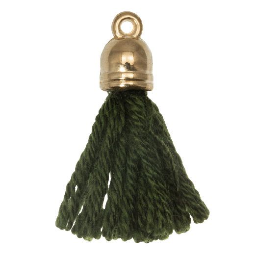 Tassels (20 mm) Seaweed / Gold (5 pcs)