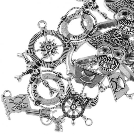 Advantage Package - Charm Pirate (various sizes) Antique Silver (20 pcs)