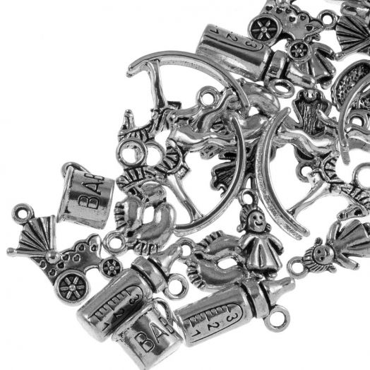 Advantage Package - Charm Baby (various sizes) Antique Silver (30 pcs)