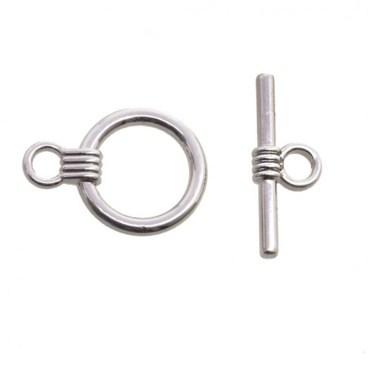 Toggle Clasps (outside size 13mm / inside size 10mm) Antique Silver (10 pcs)