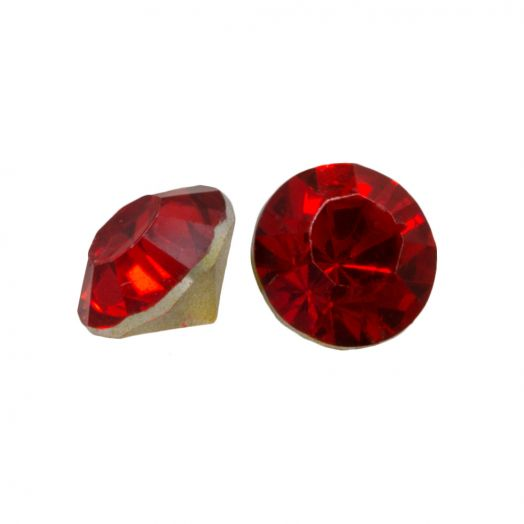 Rhinestone Cabochons SS29 (6 mm) Clear Red Rose (25 pcs)