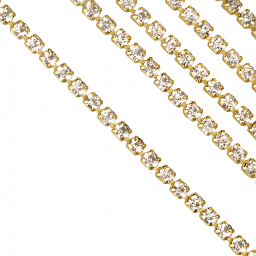 Rhinestone Necklace  (2.4 mm) Gold (2 Meter)