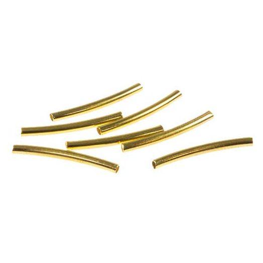 Metal Tube Beads (15 mm) Gold (50 pcs)