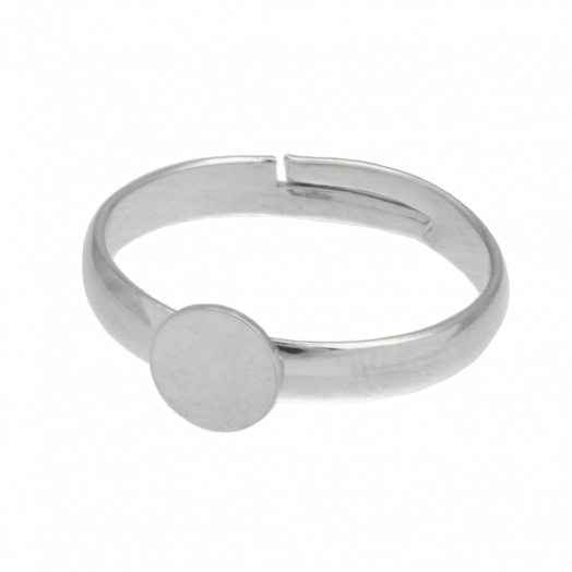 Adjustable Ring (Tray 6 mm) Silver (10 pcs)