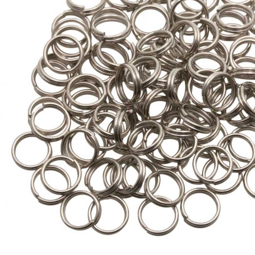 Stainless Steel Double Loops Split Rings (7 x 0.6 mm) Antique Silver (100 pcs)