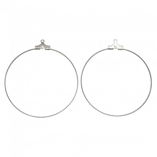 Hoop Earrings (40 mm) Antique Silver (30 pcs)