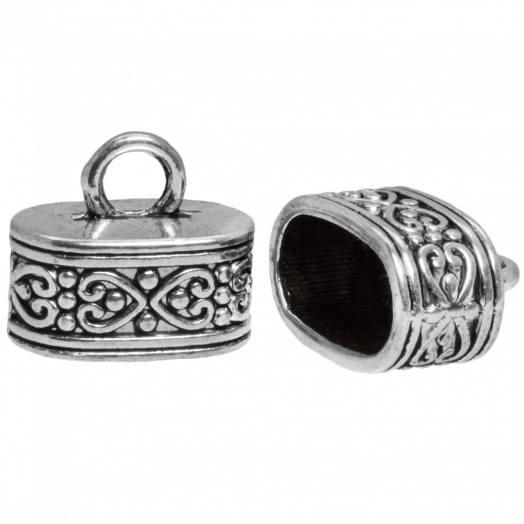Endcaps (hole size 13 x 7 mm) Antique Silver (5 pcs)