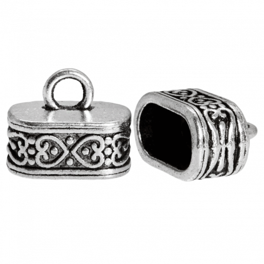 Endcaps (hole size 12 x 7 mm) Antique Silver (10 pcs)