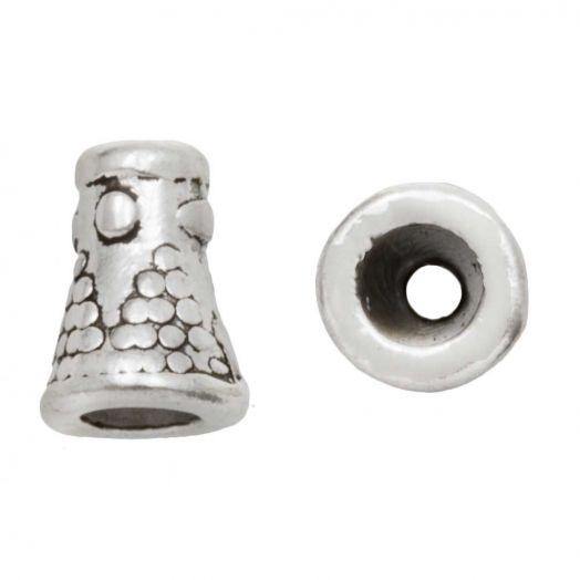 Beadcap (8 x 6 mm) Antique Silver (10 pcs)
