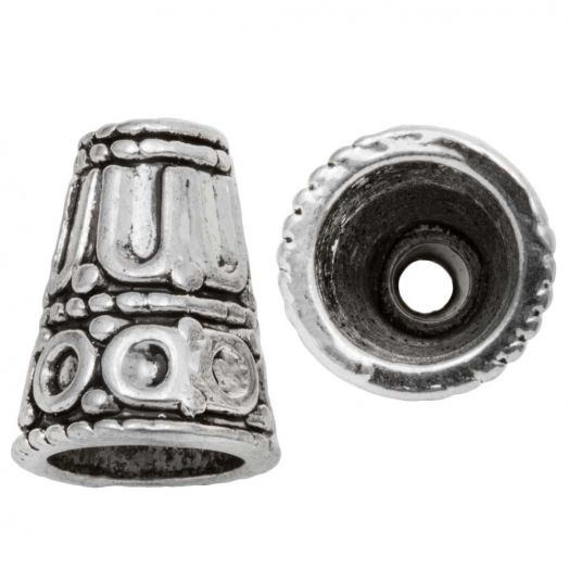 Beadcap (15 x 12 mm) Antique Silver (5 pcs)