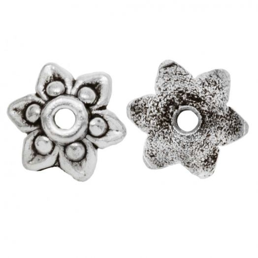 Beadcap (10 x 3 mm) Antique Silver (20 pcs)
