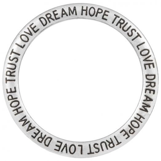 Closed Ring Trust Love Dream Hope (outside size 35 mm inside size 28 mm) Antique Silver (5 pcs)