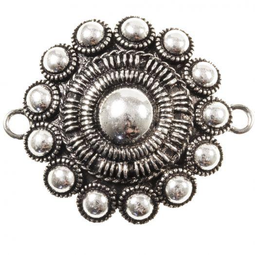 Traditional Button Connectors 2 Eyes (44 mm) Antique Silver (1 pcs)