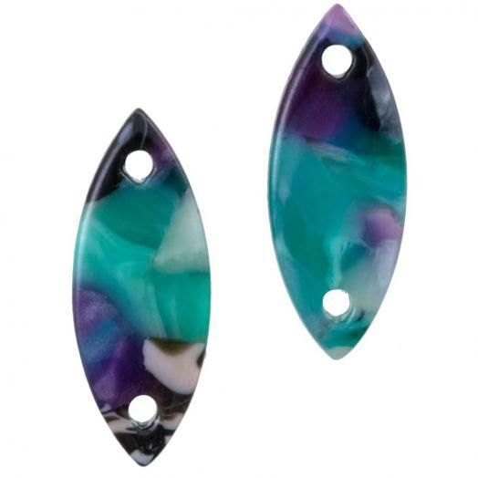Connectors 2 eyes (16 x 6 mm) Turquoise (10 pcs)