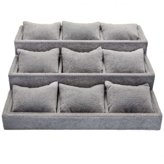 Jewelry Display (27.5 x 30 x 12.5 cm) Velvet Grey (1 pcs)